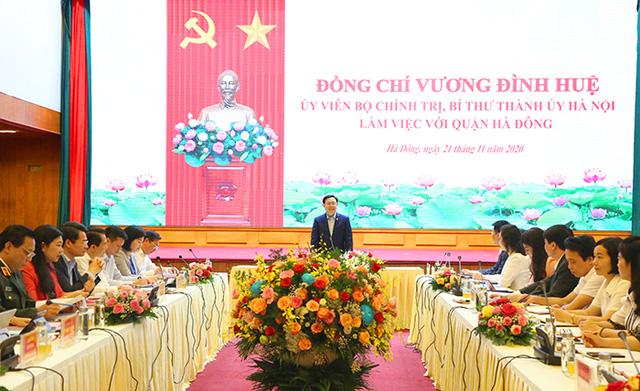 Bí thư Thành ủy Vương Đình Huệ làm việc với lãnh đạo quận Hà Đông - Ảnh 1.